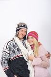Young couple in winter clothes having fun Royalty Free Stock Photos
