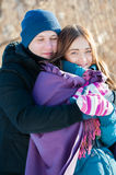 Young couple in winter day Stock Photo
