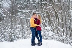 Young couple in winter forest royalty free stock photography