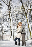 Young couple at winter Royalty Free Stock Images