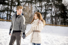 Young couple at winter Stock Image