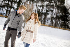 Young couple at winter Stock Images