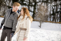 Young couple at winter Royalty Free Stock Photo