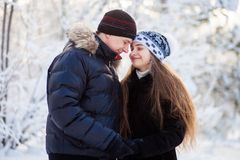 Young couple in the winter park Stock Photography