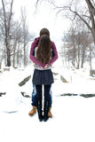 Young couple in the winter park Stock Image