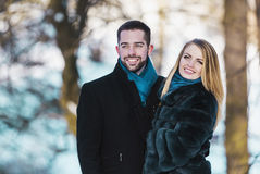Young Couple in Winter Park Stock Images