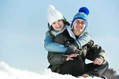 Young couple in winter Stock Photography