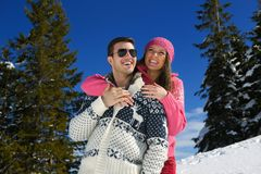 Young Couple In Winter  Snow Scene Stock Photos