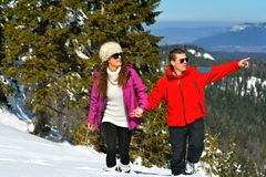 Young Couple In Winter  Snow Scene Royalty Free Stock Image