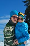 Young Couple In Winter  Snow Scene Stock Photography