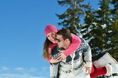 Young Couple In Winter  Snow Scene Stock Image