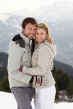 Young Couple On Winter Vacation Stock Photography