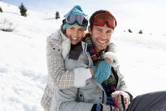 Young Couple On Winter Vacation Stock Photo