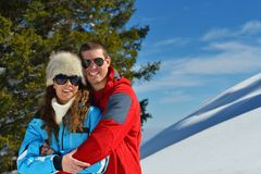 Young couple on winter vacation Royalty Free Stock Images