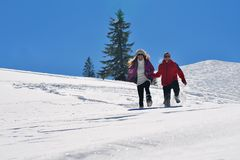 Young couple on winter vacation Stock Image