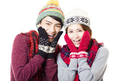young couple with winter wear Stock Photo