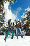 Young couple in winter Stock Photo