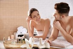Free Young Couple With Spa Essentials Royalty Free Stock Images - 149575679