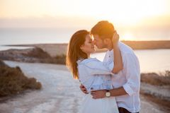 Free Young Couple With The Spectacular View On The Background Royalty Free Stock Photography - 132142567
