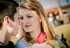 Young couple - woman with red rose Royalty Free Stock Photography