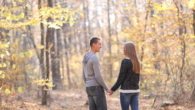 Young couple in the woods stock footage