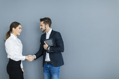 Young couple working in the office Stock Image