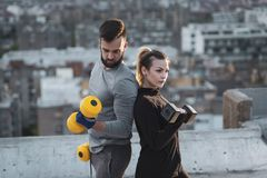 Couple weightlifting stock images
