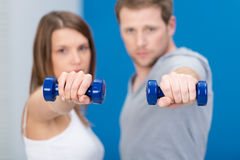 Young couple working out together Stock Photo