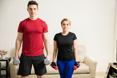 Young couple working out together Stock Photography
