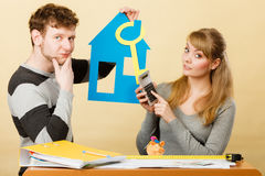 Young couple worried about money for house. Royalty Free Stock Photo