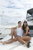 Young couple in a yacht Royalty Free Stock Photography
