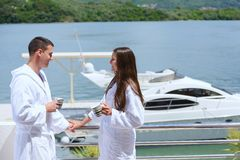 Young couple on yacht Royalty Free Stock Photo
