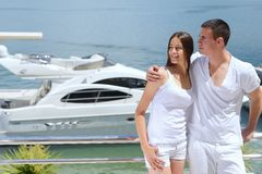 Young couple on yacht Stock Image