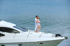 Young couple on yacht Royalty Free Stock Images