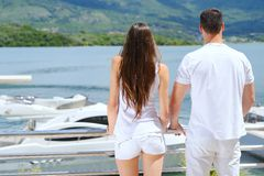 Young couple on yacht Stock Images