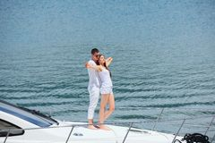 Young couple on yacht Royalty Free Stock Photography