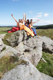 Young Couples On Camping Trip In Countryside Stock Photo