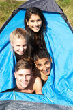 Young Couples On Camping Trip In Countryside Stock Photos
