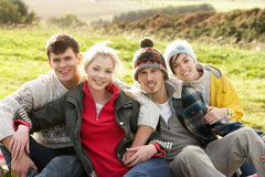 Young couples in the country stock photography