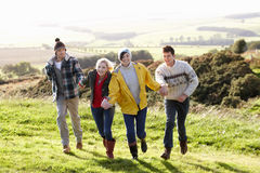 Young couples on country walk royalty free stock photo