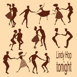 Young couples dancing lindy hop stock photo