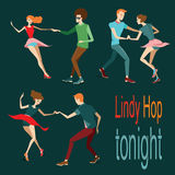 Young couples dancing lindy hop. Vector illustration Stock Photos