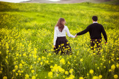 Unrecognizable couple on field. Royalty Free Stock Photography
