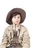 Young cowboy with big hat Stock Photo