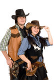 Young cowboy and cowgirl. Isolated Stock Photo