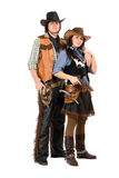 Young cowboy and cowgirl. Isolated on white background Royalty Free Stock Photos