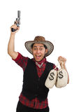 Young cowboy with gun and money bags isolated on Royalty Free Stock Photography