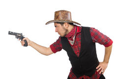 Young cowboy isolated on white Royalty Free Stock Images
