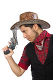 Young cowboy isolated on white Royalty Free Stock Photography