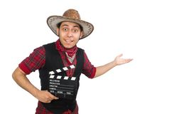 Young cowboy isolated on white Royalty Free Stock Image